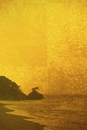 Gold folding screen and Katsurahama background Stock Photo