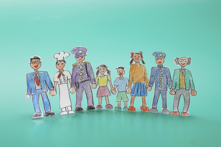 residency: Illustrations, various people Stock Photo