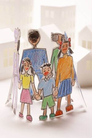 three generations: Illustrations, various people Stock Photo
