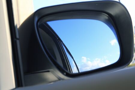 rearview: Blue sky captured area rearview mirror
