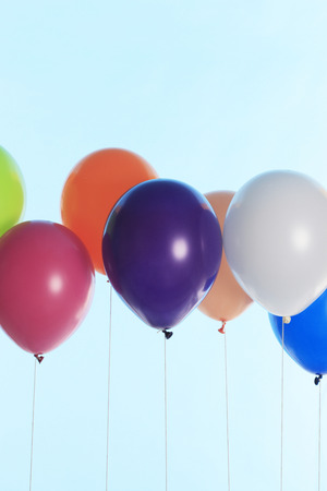 levitate: Balloons lined Stock Photo