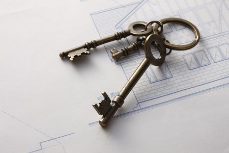 sureness: A key blueprint Stock Photo