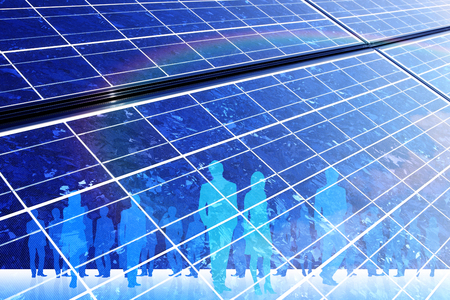 comrade: Solar panel and the crowd Stock Photo