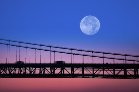 synthesis: Synthesis of the Seto Ohashi Bridge and the moon Stock Photo