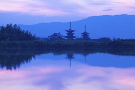 The dawn of Nara, Yakushi-ji Temple Banco de Imagens - 49746025