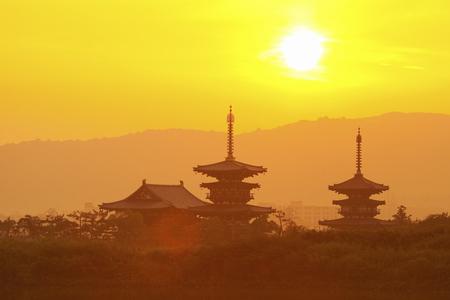 Nara Prefecture Yakushiji sunrise Banco de Imagens - 49746337