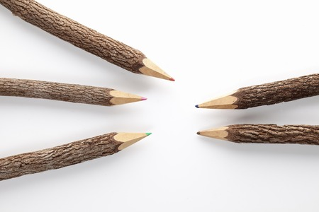 writing utensil: Colored pencil of twigs Stock Photo