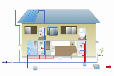 floor heating: Residential plumbing illustrations Stock Photo