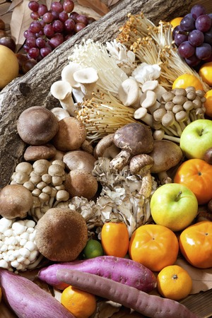 autumn food: Autumn food mushrooms and fruit