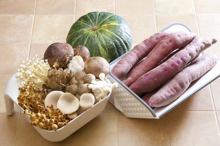 potato tree: Autumn food mushrooms and vegetables