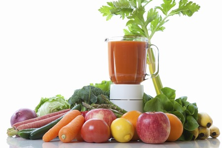 group photo: Juicers and vegetable fruit group photo Stock Photo