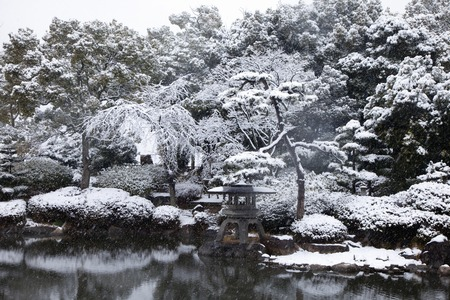 Osaka Castle garden of winter scenery