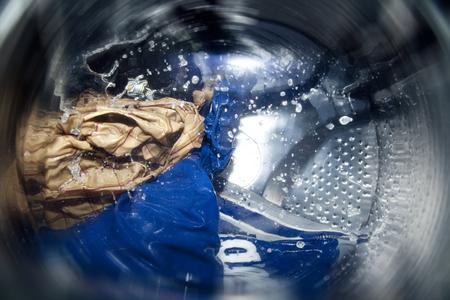 節水型洗濯機のドラムを回転 写真素材