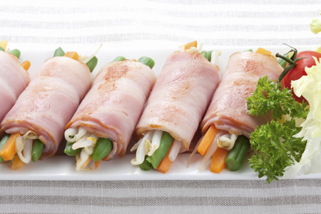 common bean: Vegetables wrapped with Bacon
