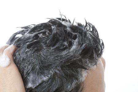 Wash hair men 版權商用圖片