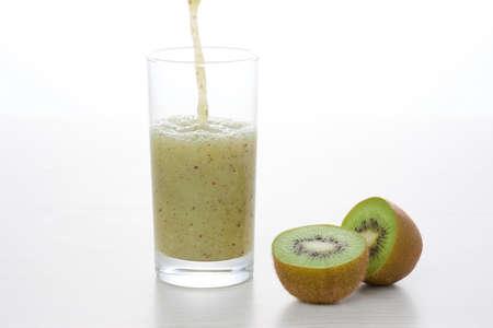 kiwis: Kiwis and Kiwi juice Stock Photo