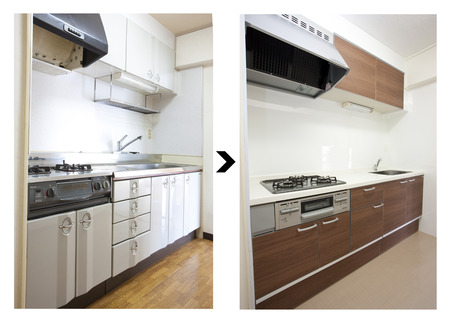 System kitchen renovated before and after