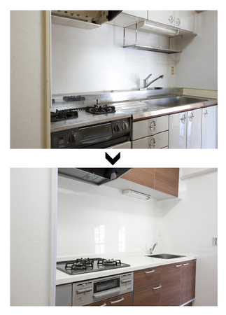 after work: System kitchen renovated before and after