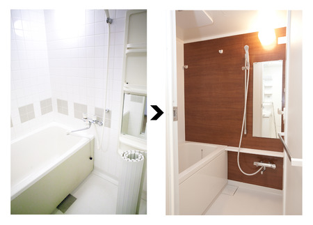 Bathroom renovation before and after Zdjęcie Seryjne