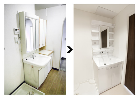 Washroom renovated before and after