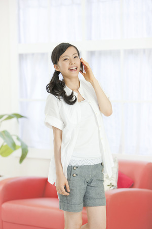 woman at the phone: Woman in phone Stock Photo