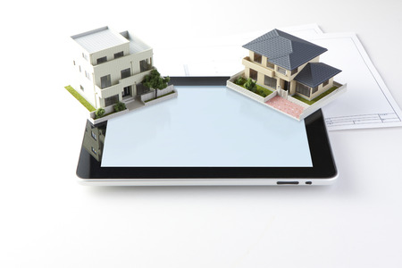 model home: Model home and tablet computers
