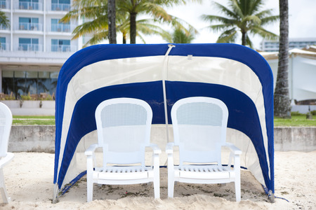 reclining chair: Deck chair Stock Photo