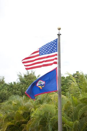 guam: American flag and Guam State Flag