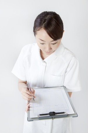 medical records: Nurse with medical records