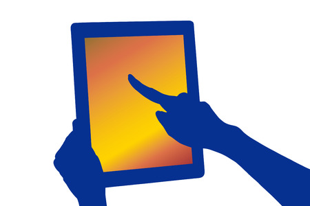 Silhouette of the hand to touch the tablet computer photo