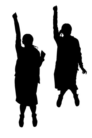 joyous: Silhouette of a woman to jump