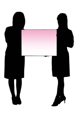 message board: Two women with the message board