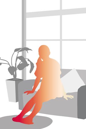 window shade: Female silhouette relax in the room Stock Photo