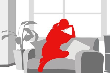 monotone: Female silhouette relax in the room Stock Photo