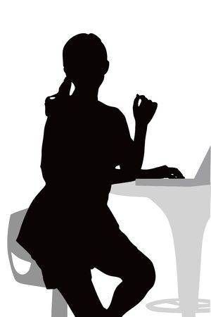 loosen: Silhouette of a woman PC Stock Photo