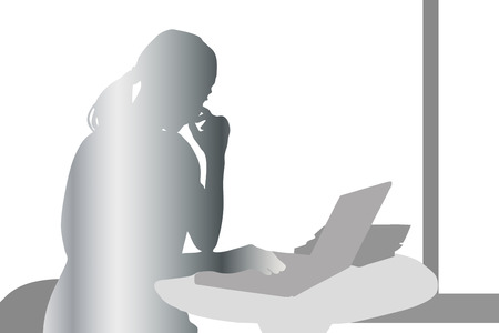 recess: Silhouette of a woman PC Stock Photo