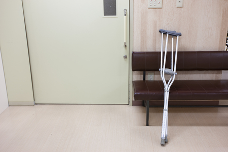 hospitalization: Crutches placed on a chair