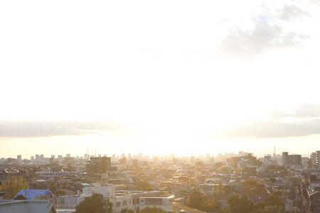 sun lit: City lit by the setting sun Stock Photo