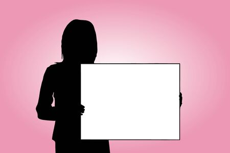 message board: Female silhouette with a message board