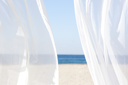 white curtains: Blue sky and white curtains Stock Photo