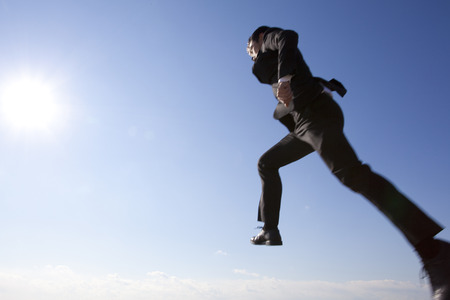 rushed: Businessman jumping