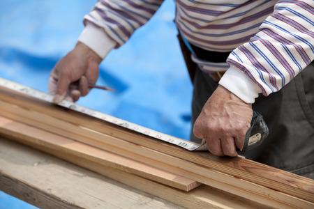 the elderly residence: Work landscape of carpenter Stock Photo