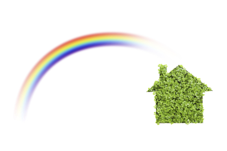 paper cutout: Of paper cutout eco housing and rainbow