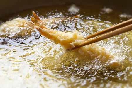 Frying the tempura scene