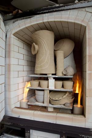 brick kiln: Gas kiln and ceramic works Stock Photo