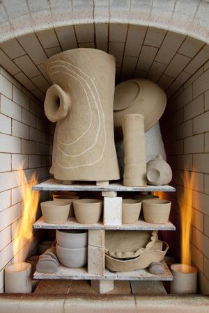 Gas kiln and ceramic works Stock Photo
