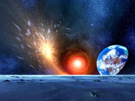 supernova: Supernova and the Earth Stock Photo