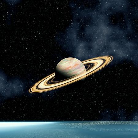 Galaxy and Saturn Foto de archivo
