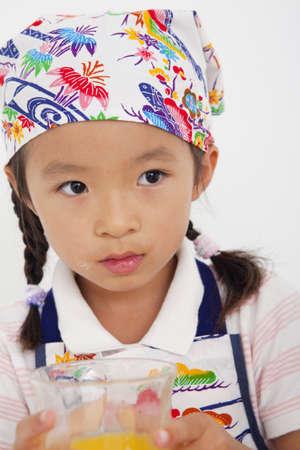 bandana girl: Girl wrapped a bandana