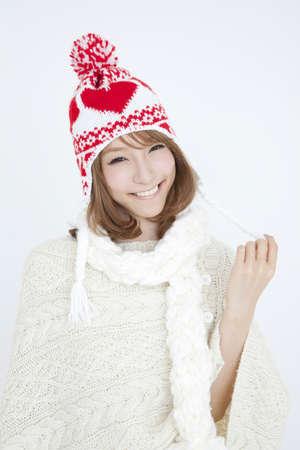 damper: Woman wearing a knit hat